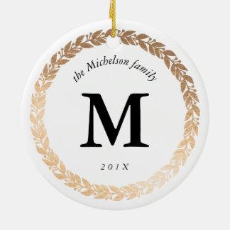 Gold Garland Elegant Photo and Monogrammed White Christmas Ornament