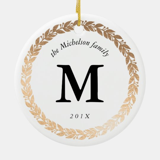 Gold Garland Elegant Photo and Monogrammed White Christmas Ornament