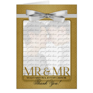 Gold Gay Wedding Thank You from Two Grooms Greeting Card