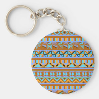 Gold Geometric Abstract Aztec Tribal Print Pattern Keychain