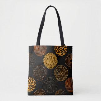 Gold Geometric Abstract Circles Tote Bag