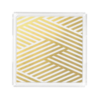 Gold Geometric Abstract Stripes Vanity Tray