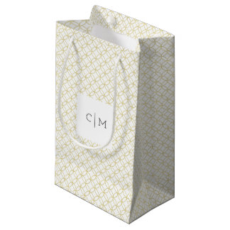 Gold Geometric Monogram Wedding Gift Bag