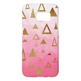 gold geometric triangles pastel pink brushstrokes