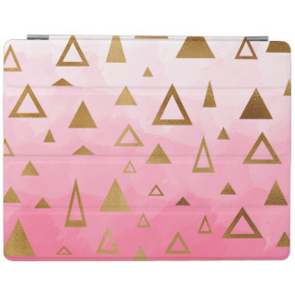 gold geometric triangles pastel pink brushstrokes iPad cover