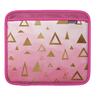 gold geometric triangles pastel pink brushstrokes iPad sleeves