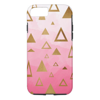 gold geometric triangles pastel pink brushstrokes iPhone 8/7 case