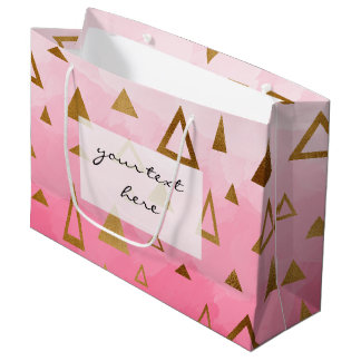 gold geometric triangles pastel pink brushstrokes large gift bag