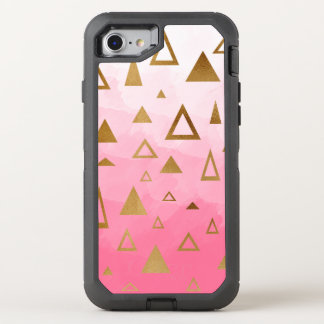 gold geometric triangles pastel pink brushstrokes OtterBox defender iPhone 8/7 case