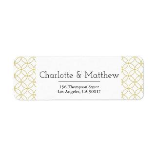 Gold Geometric Wedding Address Label