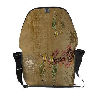 Gold Giraffe Cherry Blossom Carnival Messenger Bag