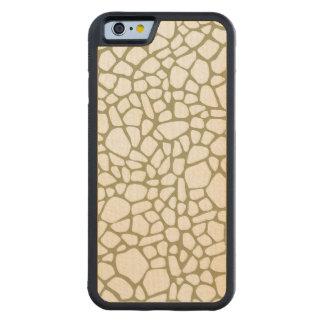 Gold Giraffe Print Carved Maple iPhone 6 Bumper Case
