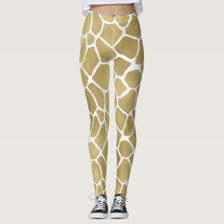 Gold Giraffe Print Leggings
