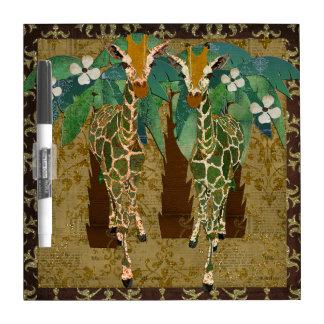 Gold Giraffes Tropicana Dry Erase Board