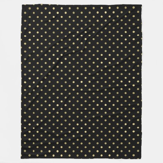 Gold Glam and Black Dots Fleece Blanket