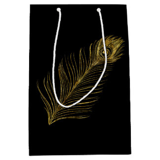 Gold Glam and Black Peacock Feather Medium Gift Bag