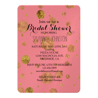 Gold Glam Bokeh bridal shower 13 Cm X 18 Cm Invitation Card