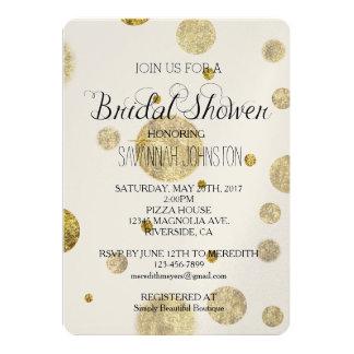Gold Glam Bokeh Confetti Dots bridal shower 13 Cm X 18 Cm Invitation Card