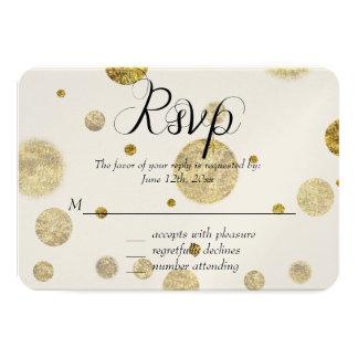Gold Glam Bokeh Confetti Dots RSVP 9 Cm X 13 Cm Invitation Card