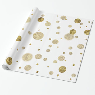 Gold Glam Bokeh Confetti Dots Wrapping Paper
