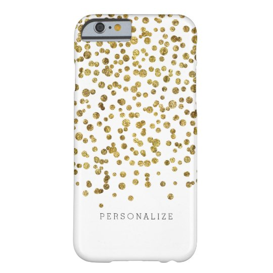Gold Glam Confetti Dots Barely There iPhone 6