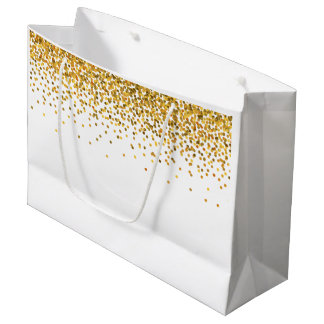 Gold Glam Confetti Dots Large Gift Bag