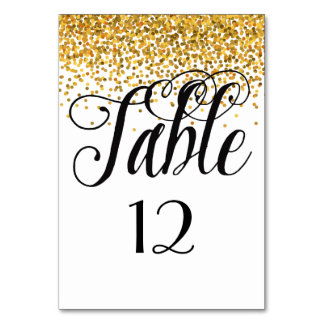 Gold Glam Confetti Dots table number Table Cards