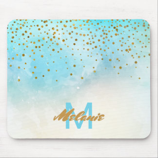 Gold Glam Confetti Dots | Watercolor Turquoise Mouse Mat