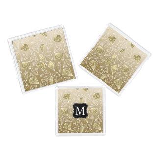 Gold Glam Diamonds Monogram