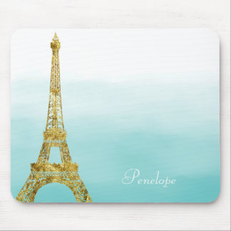 Gold Glam Eiffel Tower Aqua Ombre Watercolor Mouse Mat