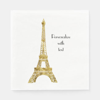 Gold Glam Eiffel Tower Paper Napkins