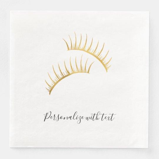 Gold Glam Eyelashes Disposable Serviettes