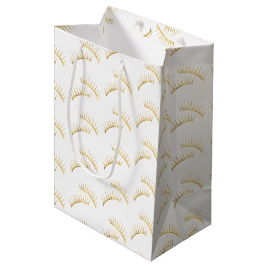 Gold Glam Eyelashes Medium Gift Bag