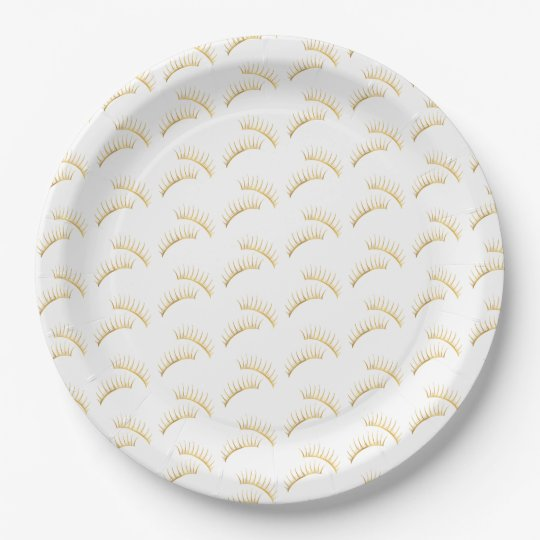 Gold Glam Eyelashes Paper Plate