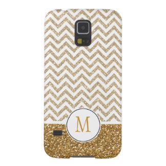 Gold Glam Faux Glitter Chevron Galaxy S5 Cases