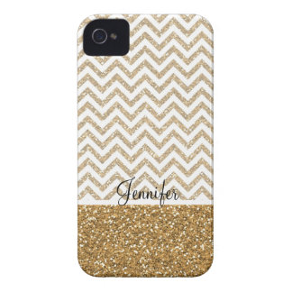 Gold Glam Faux Glitter Chevron iPhone 4 Cover