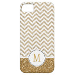 Gold Glam Faux Glitter Chevron iPhone 5 Cases