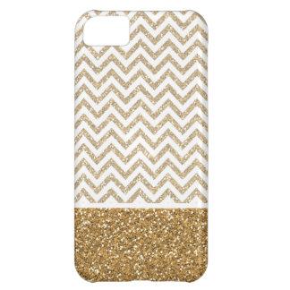 Gold Glam Faux Glitter Chevron iPhone 5C Case