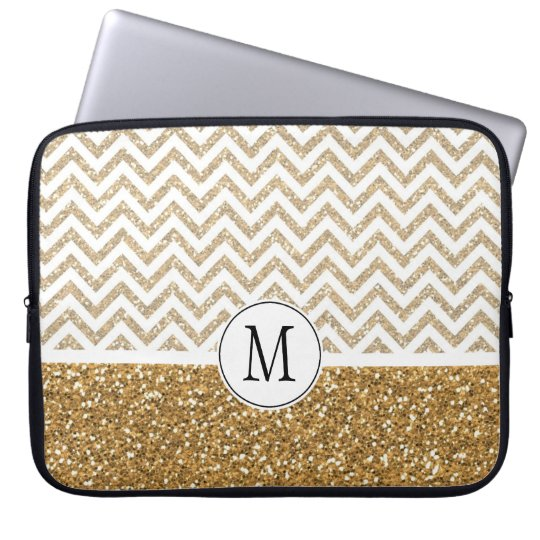 Gold Glam Faux Glitter Chevron Laptop Sleeve
