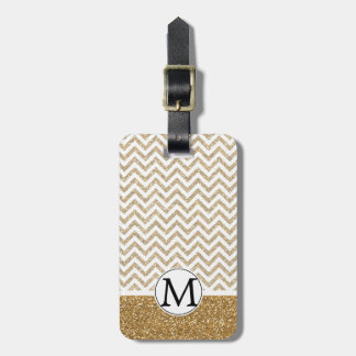 Gold Glam Faux Glitter Chevron Luggage Tag