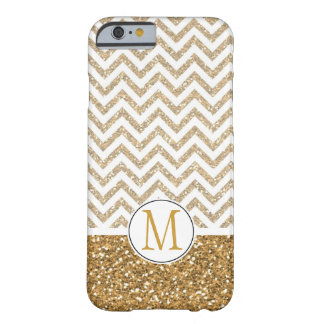 Gold Glam Faux Glitter Chevron Monogram Barely There iPhone 6 Case