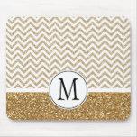 Gold Glam Faux Glitter Chevron Mouse Mat