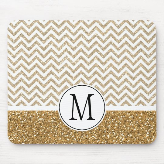 Gold Glam Faux Glitter Chevron Mouse Mat