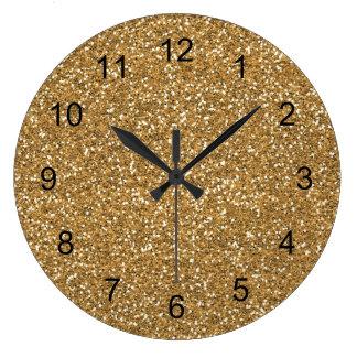 Gold Glam Faux Glitter Clocks