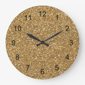 Gold Glam Faux Glitter Large Clock