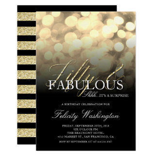 Gold Glam Fifty & Fabulous Surprise Birthday Party Card