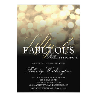 Gold Glam Fifty & Fabulous Surprise Birthday Party Magnetic Card
