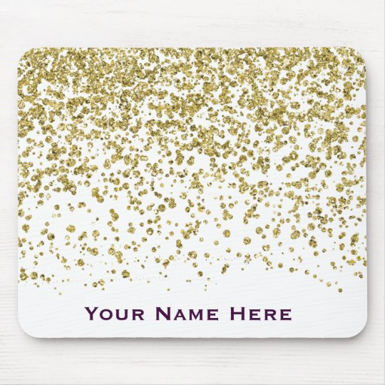 Gold Glam Glitter Confetti Personalised Mousepad