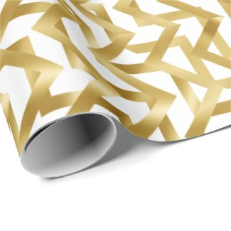 Gold glam glitz elegant geometric chevron wrapping paper