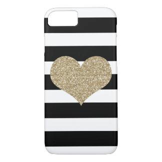 Gold Glam Heart Black/White Stripe iPhone 7 Case